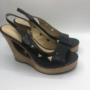 Michael Kors Slingback Leather Wood Wedge Heels